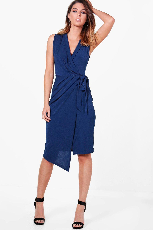Sleeveless Wrap Front Midi Dress  navy