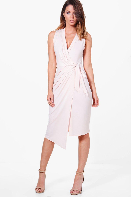 Sleeveless Wrap Front Midi Dress  nude