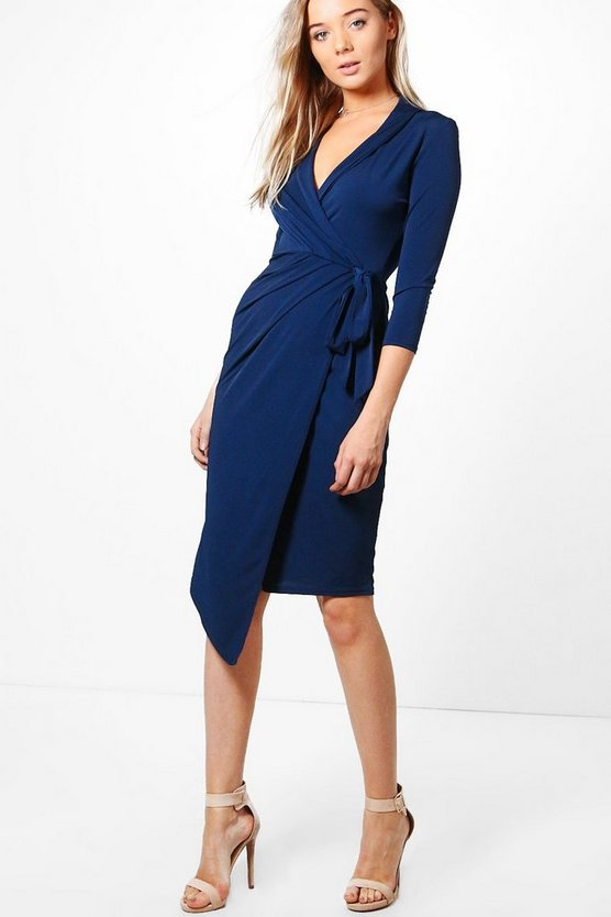 Alison Wrap Front 3/4 Sleeve Midi Dress