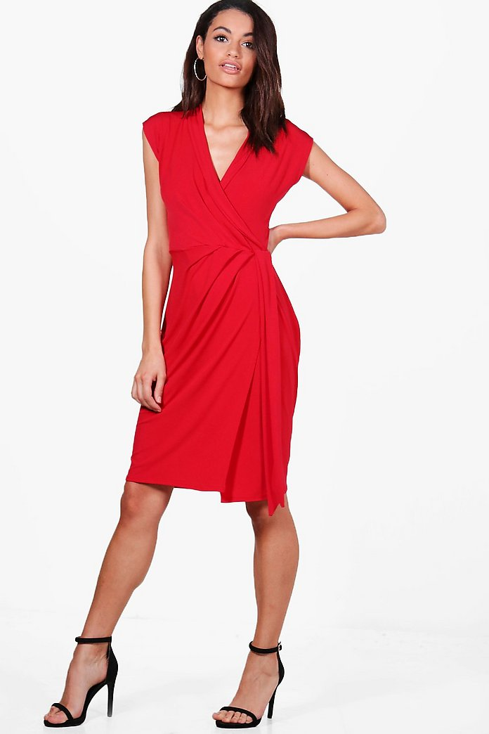 Alise Wrap Front Midi Dress