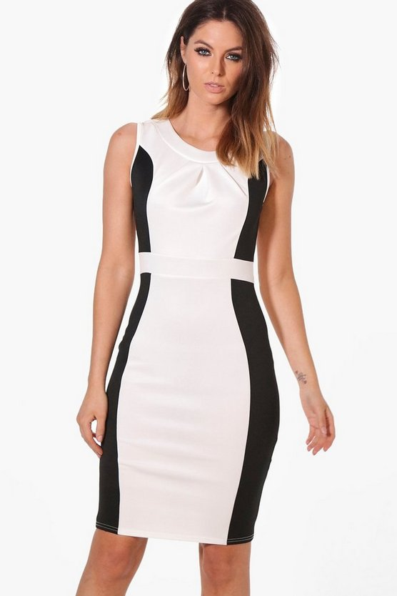 Julia Contrast Pleat Front Midi Dress