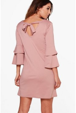 Sara Frill Sleeve Tie Back Dress