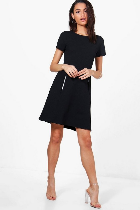 Amanda Zip Detail Tailored Dress