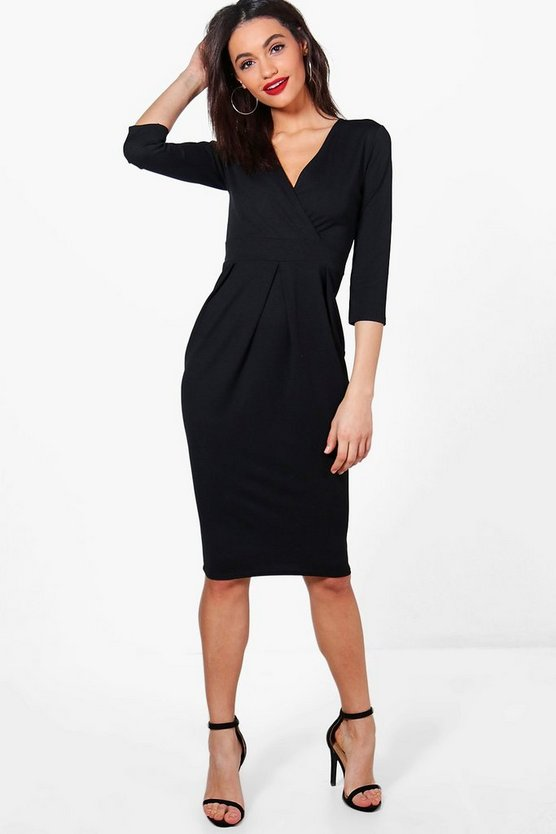 Erina Wrap Over Tailored Midi Dress