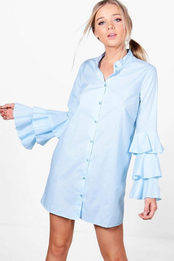 Lottie Ruffle Sleeve Shirt Dress