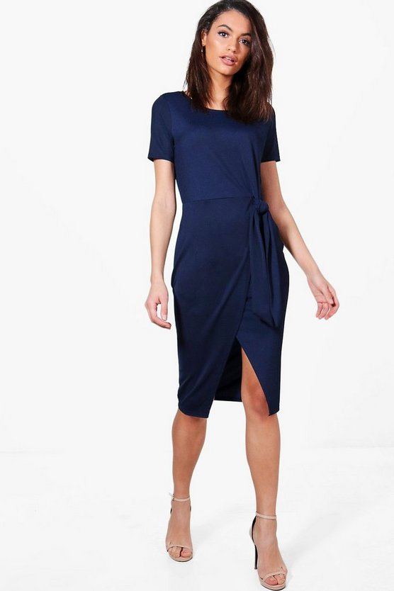 Lottie Tie Front Tailored Midi Dress
