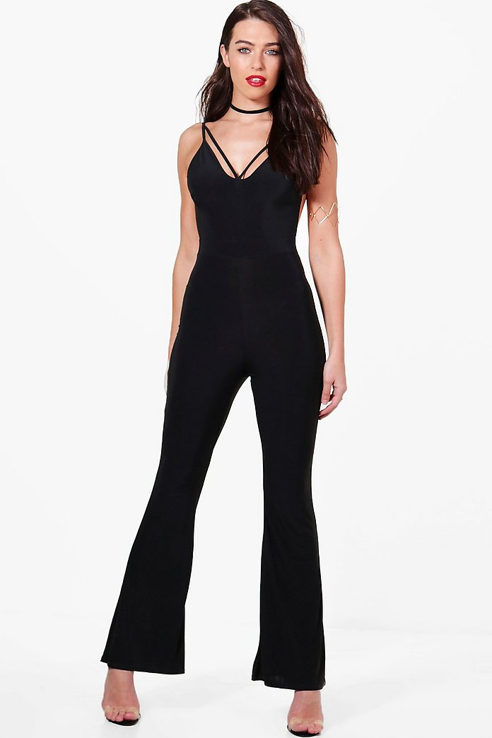 Hannah Plunge Harness Detail Wide Leg Jumpsuit
