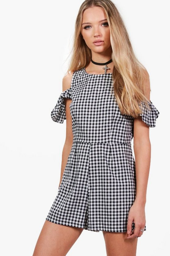 Arianna Gingham Cold Shoulder Playsuit