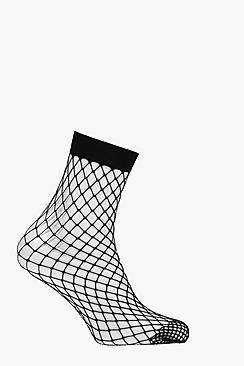 Calzini alla caviglia a rete con motivo a rombi