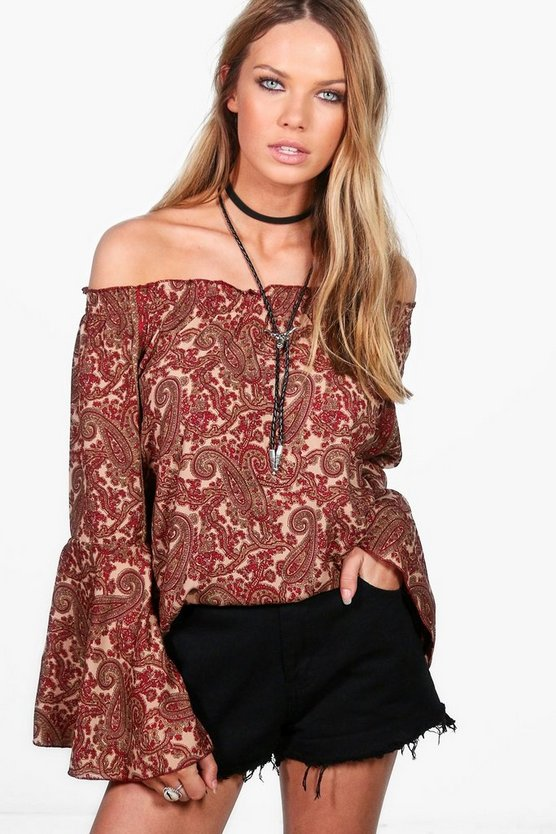 Grace Off The Shoulder Printed Top