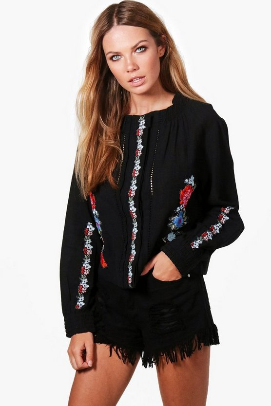 Hollie High Neck Embroidered Blouse