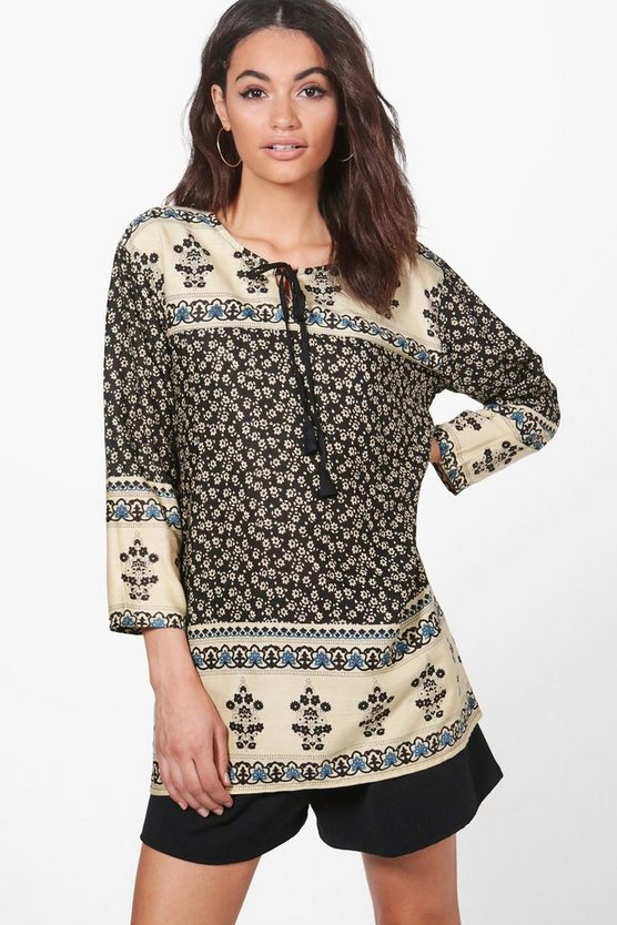 Maisie Woven Paisley Long Sleeve Top