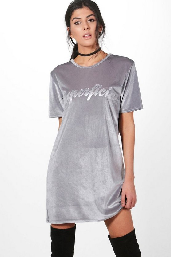 Karrueche Velvet Slogan Shift Dress