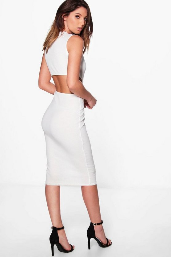 Faith Cut Out Back Sleeveless Rib Midi Dress