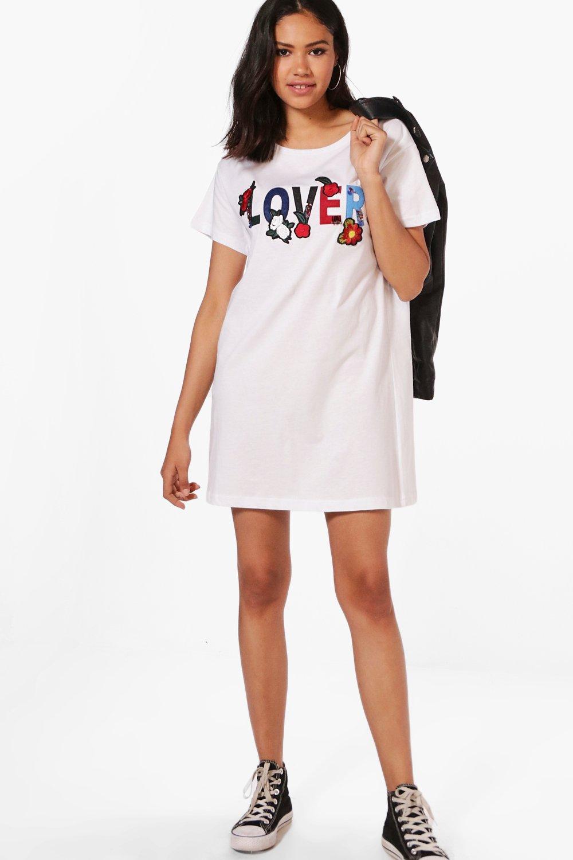Black t shirt dress ebay - Boohoo Womens Lauren Slogan Embroidery T Shirt Dress