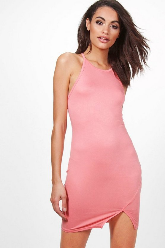 Beth Racer Front Split Detail Bodycon Dress