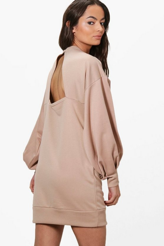 Ola Open Back Balloon Sleeve Sweat Dress