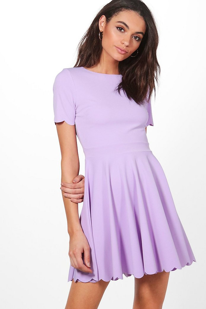 Alice Scallop Detail Skater Dress