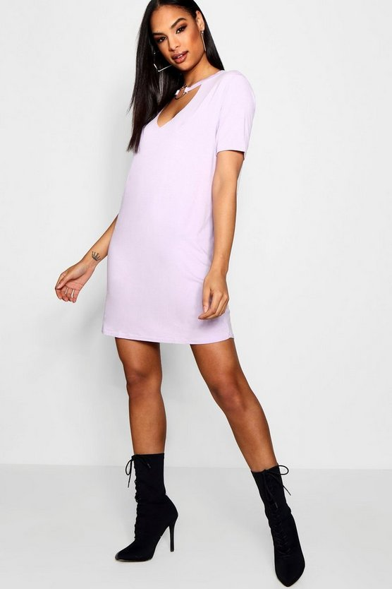 Oana O-Ring Choker Plunge T-Shirt Dress