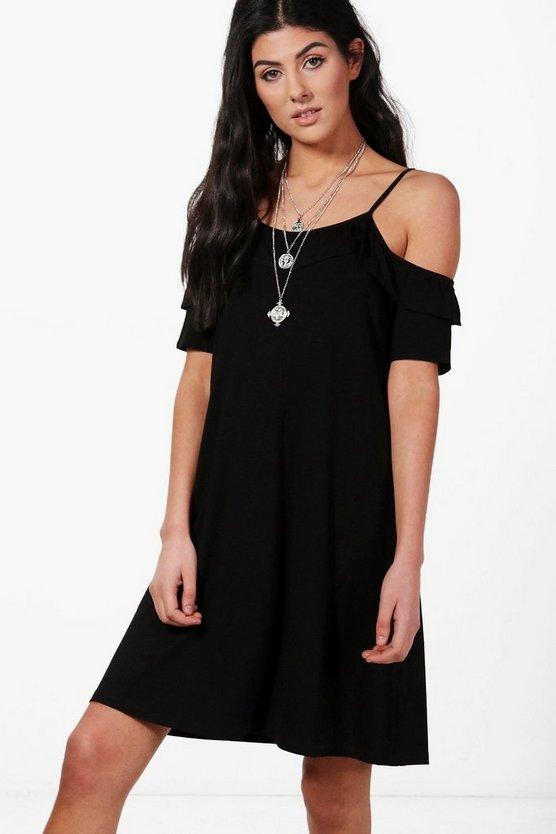 Ella Ruffle Cold Shoulder Swing Dress