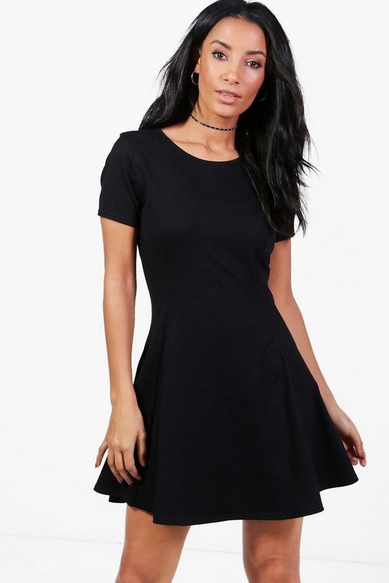 Seam Detail Cap Sleeve Skater Dress