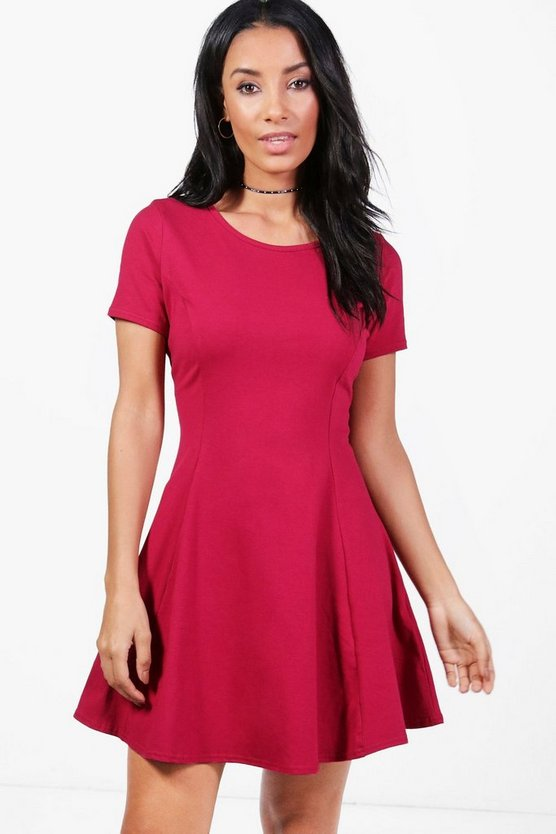 Sara Seam Detail Cap Sleeve Skater Dress
