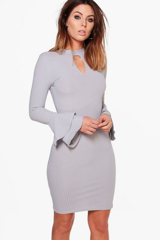 Madison Rib Keyhole Flute Sleeve Bodycon Dress