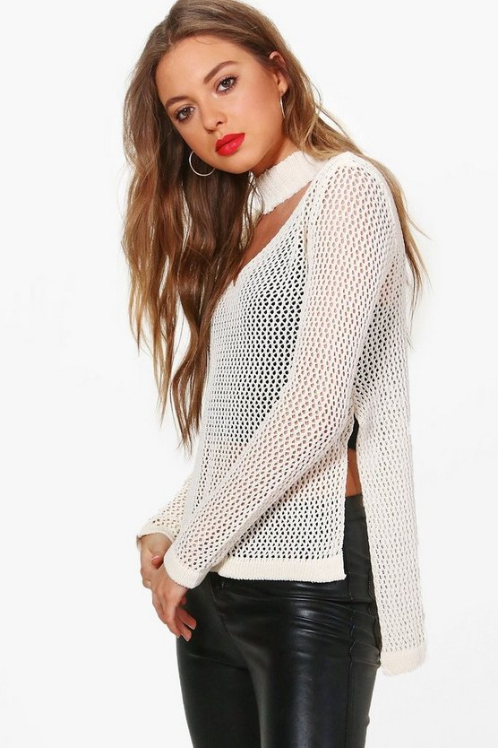 Camille Choker Open Stitch Jumper