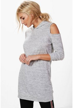 Kelly Cold Shoulder Knitted Hoodie