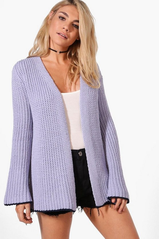 Violet Wide Sleeve Edge To Edge Cardigan