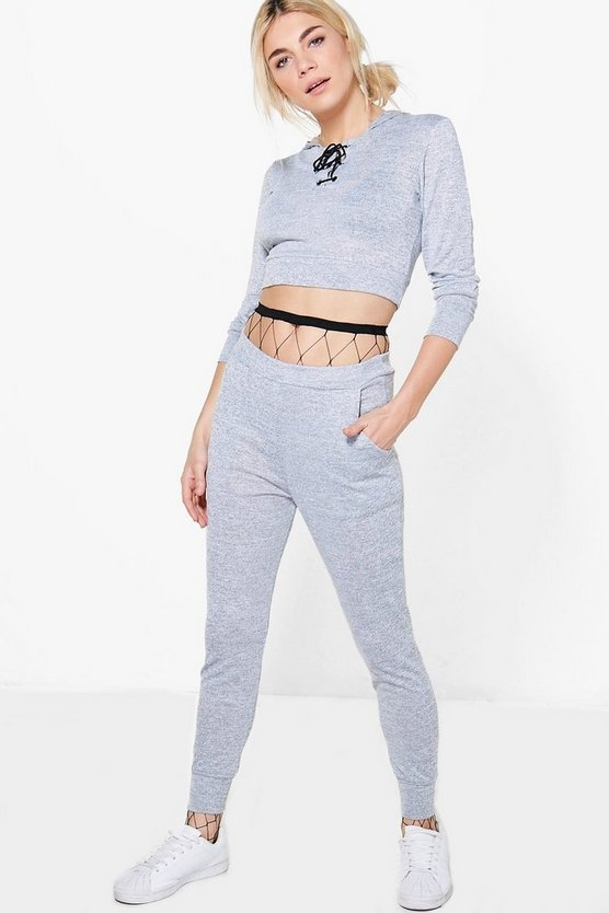 Maggie Lace Up Crop Knitted Loungewear Set