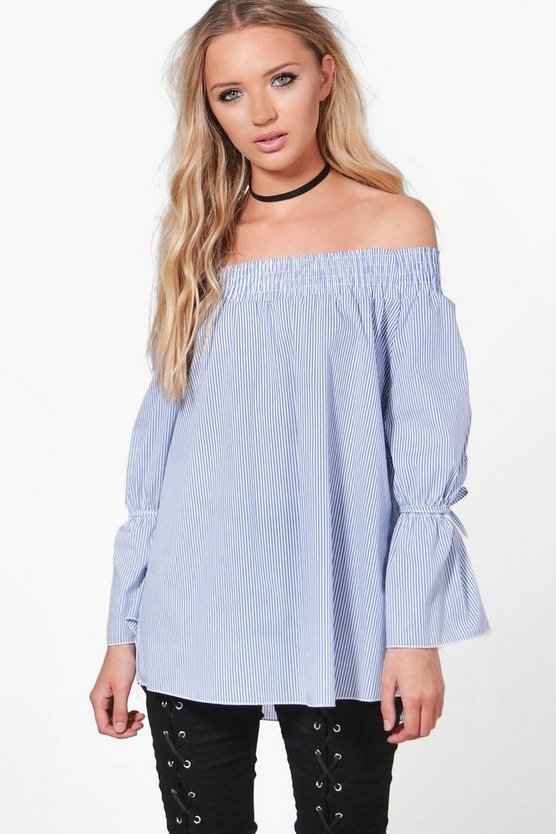 Eva Stripe Off The Shoulder Top
