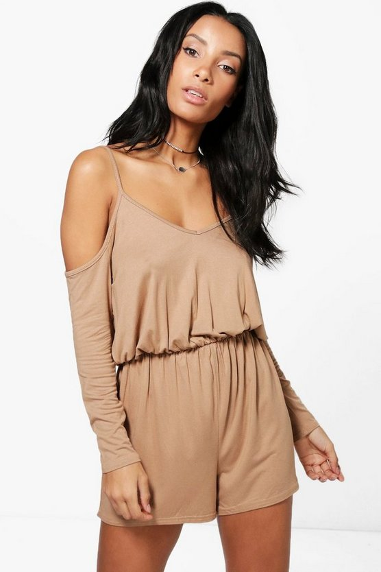 Sophie Cold Shoulder Jersey Playsuit