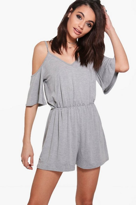Hannah Jersey Cold Shoulder Strappy Playsuit