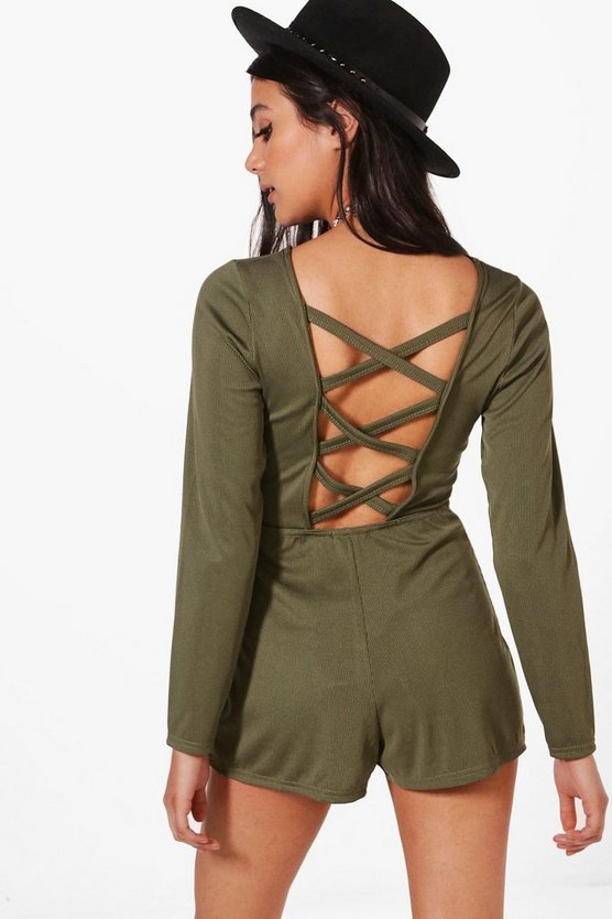 Aylin Ribbed Lattice Back Playsuit