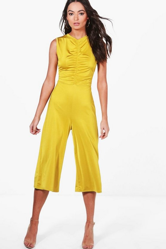 Louise Ruched Detail High Neck Culotte Jumpsuit