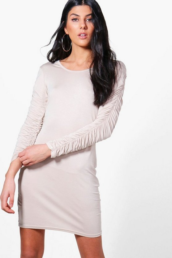 Jo Rouched Long Sleeved Bodycon Dress