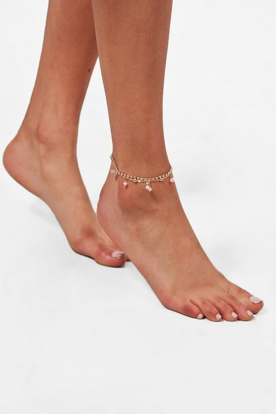 Saffron Layered Chain Beaded Anklet