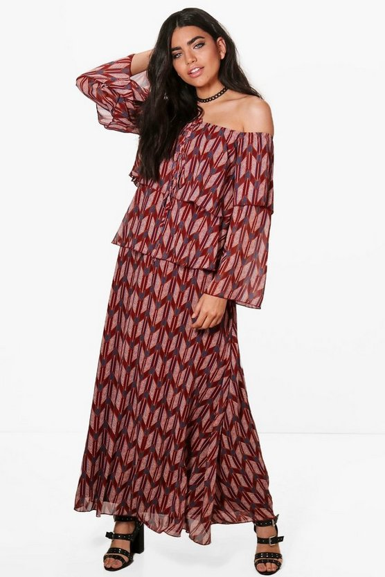 Harriet Aztec Off Shoulder Maxi Dress