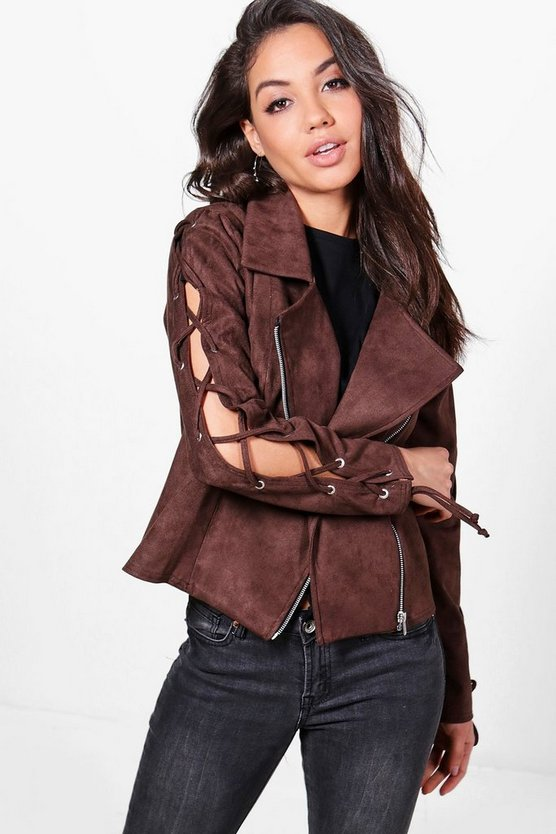 Alice Lace Up Sleeve Suedette Biker