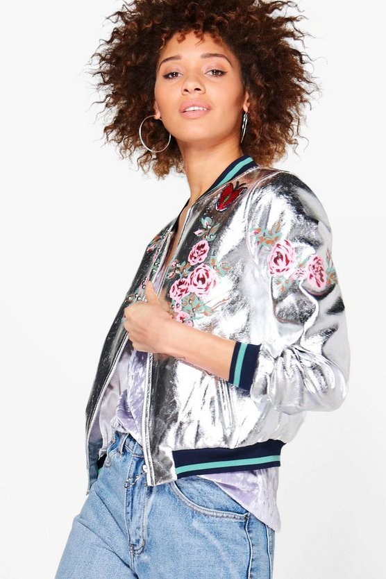 Elizabeth Metallic Embroidered Bomber Jacket
