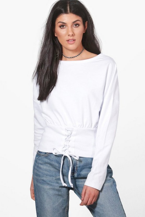 Heather Slouchy Lace Up Corset Sweatshirt