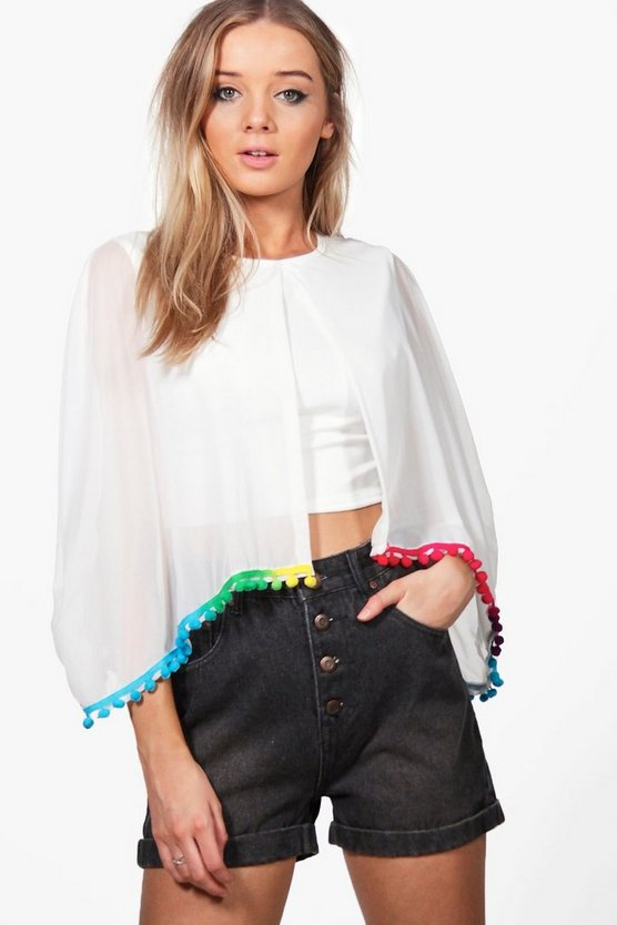 Keira Pom Trim Cape Crop
