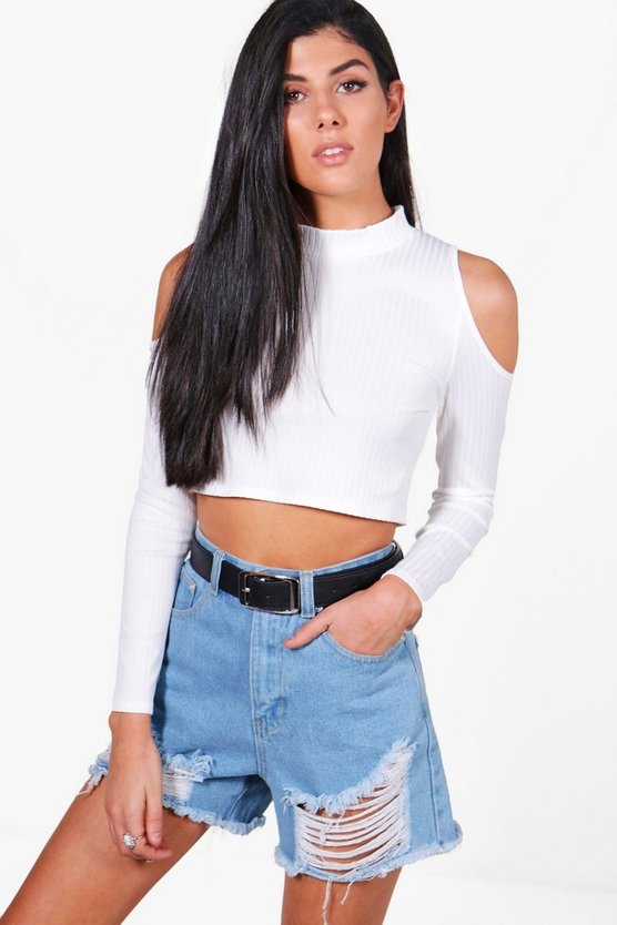 Eva Cold Shoulder Ribbed Crop Top