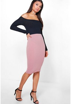 Emily Soft Touch Rib Midi Skirt