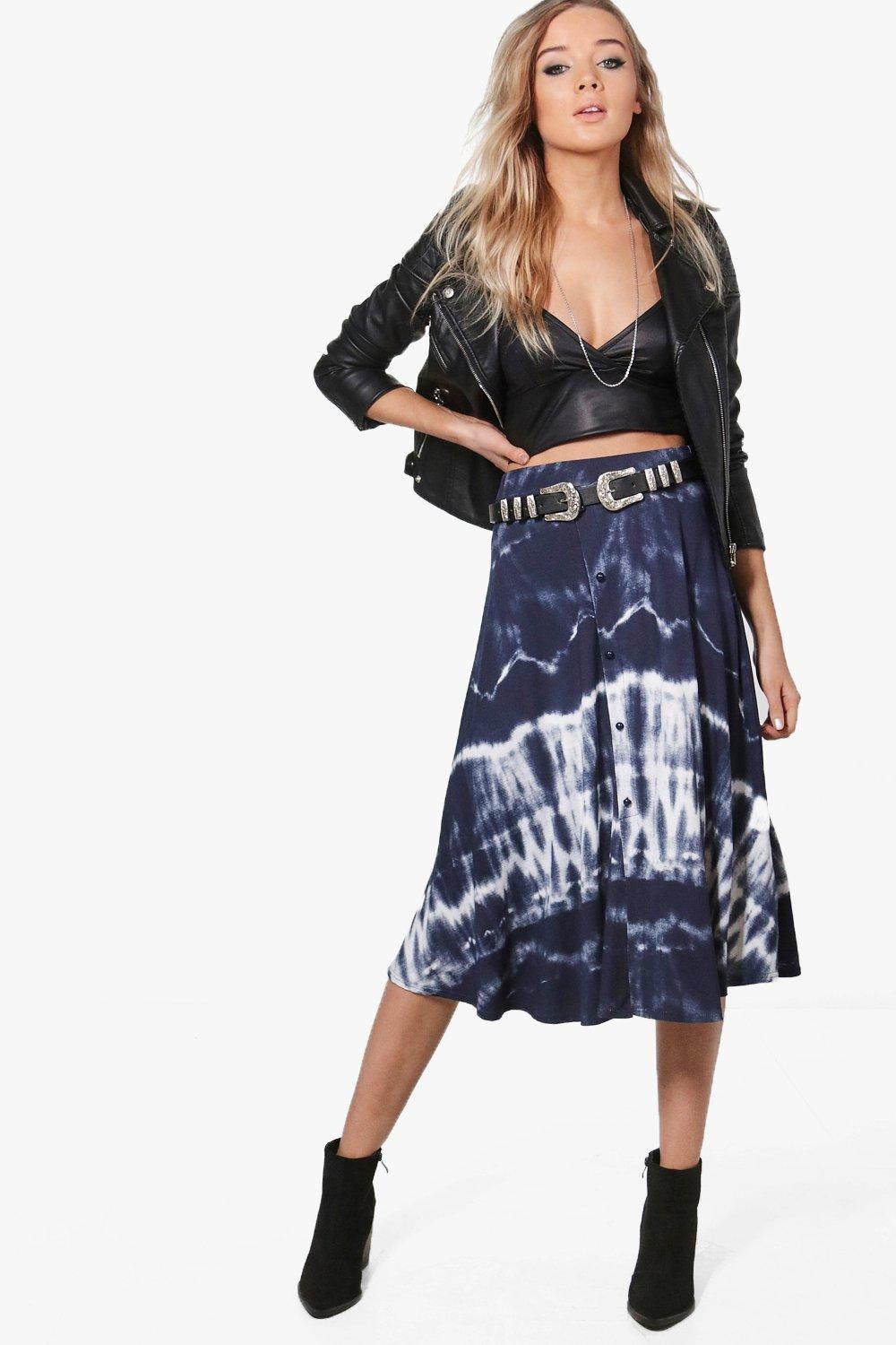 Tie Dye Button Through Midi Skirt  navy