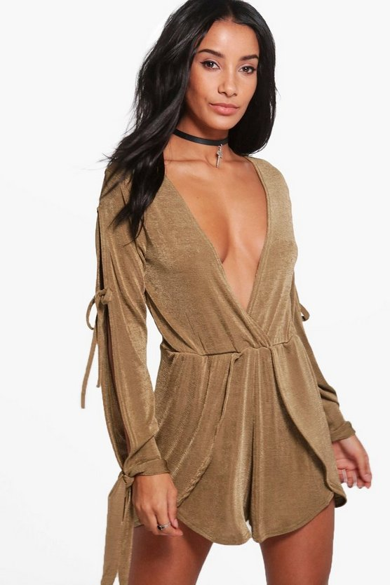 Elsie Plunge Wrap Over Playsuit