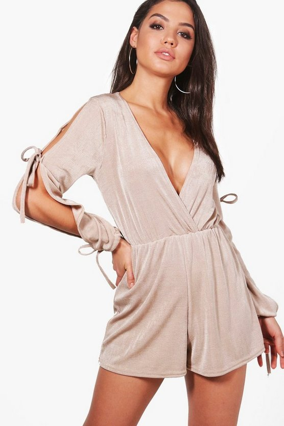 Maria Wrap Over Split Sleeve Playsuit