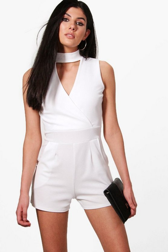 Lara Choker Style Sleeveless Playsuit