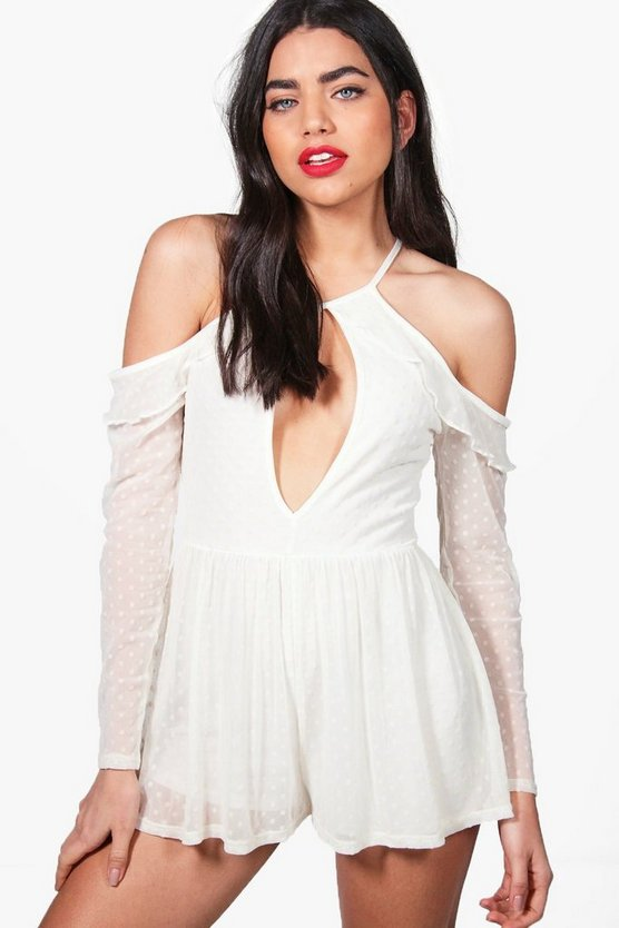 Zoe Cold Shoulder Ruffle Spot Mesh Playsuit